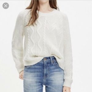 Madewell Blockstich Cream Cable Knit Sweater